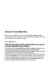 28 Days To Lean Meal Plan – Healthy Body 27