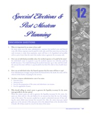 CHAPTER 12 SPECIAL ELECTIONS AND POST MORTEM PLANNING