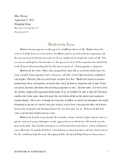 Biodiversity Essay Ethan Fisher   Ethan W Fisher Elizabeth Kelly   Pages Homework  Biodiversity Essay Good High School Essays also Essay On Health And Fitness  Essay Writing Format For High School Students