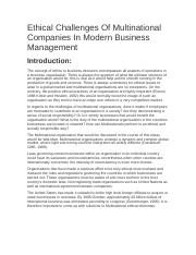 WM Ethical Challenges Of Multinational Companies In Modern Business Management