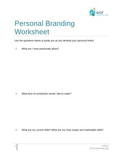 Personal Branding worksheet questions
