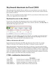 excel shortcuts 2010 key list pdf