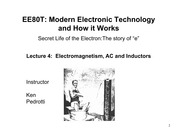Lecture 4 -  Electromagnetism, AC and Inductors