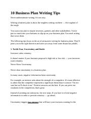 10 Business Plan Writing Tips