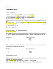 one dimensional motion lab report Lab i - 3 problem #1: constant velocity motion since this physics laboratory design may be new to you, this first problem, and only this one, contains both the instructions to explore constant velocity motion and an explanation of the various parts of the instructions.