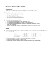 Statistics of Two Variables Worksheet