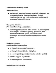 Art and Event Marketing Notes