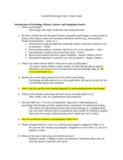 General Psychology Study Guide Exam 1 Fall 2012