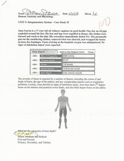 Integumentary System-Case Study #2 Worksheet