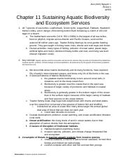 Chapter 11 Sustaining Aquatic Biodiversity and Ecosystem Services