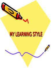 MY LEARNING STYLE
