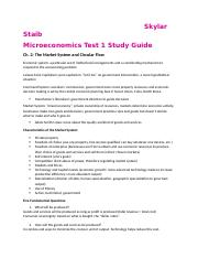 Microeconomics Test 1 Study Guide