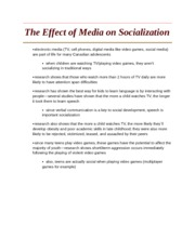 The Effect of Media on Socialization