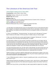 The Literature of the Americas Unit Test.docx