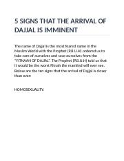 5 SIGNS THAT THE ARRIVAL OF DAJJAL IS IMMINENT - 5 SIGNS
