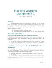 cs7641 docx - Machine LearningAssignment 1 SUPERVISED