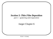 Section 5 - Thin Film Deposition - part1