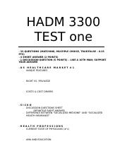 Study guide hadm test one