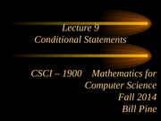 Lecture 9 - Conditional Statements