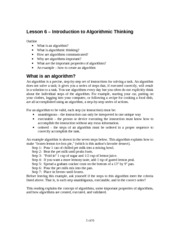 Introduction to Algorithmic Thinking