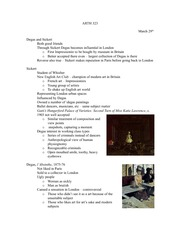 Lecture 11 notes, Degas and Sickert