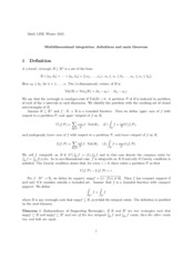 Multidimensional Integration Notes
