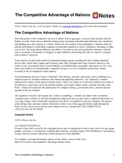 porters diamond competitive advantage of nations The competitive advantage of nations user review - not available - book verdict building on his competitive strategy ( lj 10/1/80) and competitive advantage ( lj 3/1/86), which dealt with competition among companies, porter here presents a new theory to explain global success.