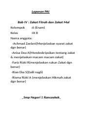 Dokumen 1 Docx Laporan Pai Bab Iv Zakat Fitrah Dan Zakat Mal Kelompok 6 Enam Kelas Ix B Nama Anggota Achmad Zaelani Menjelaskan Syarat Zakat Dgn Course Hero