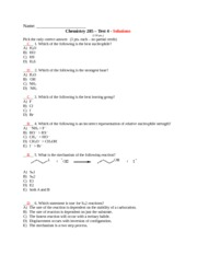 Chemistry 285- TEST 4 - solutions