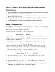 Worksheet 2 - Reversible reactions and Chemical Equilibrium POSTED FALL 10