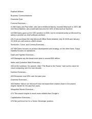 Comm grammar quiz.docx - Rashed Milhem Business Communications Grammar Quiz Comma Exercises