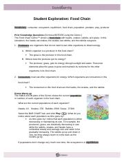FoodChainSE - Student Exploration Food Chain Vocabulary ...