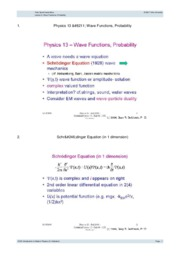 Lecture 9- Wave Functions, Probability