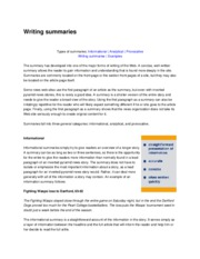 types of summaries