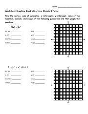 2 22 Ws Graphing Quadratics Standard