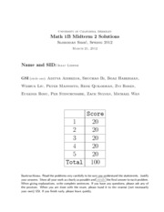 MATH 1B - Spring 2012 - Simic - Midterm 2 (solution)