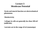 Lecture 3 Membrane Potential - Ion Channels