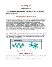 Experiment 6 Chem 211 Conformation of Alkanes and Cycloalkanes_ An Exercise with Molecular Models.do