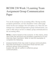 BCOM 230 Week 3 Learning Team Assignment Group Communication Paper
