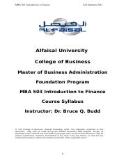 MBA 503 Introduction to Finance Foundation Fall 2012.doc