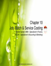 Chapter 10 Job, Batch & Service Costing