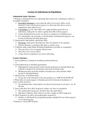 Lectures 12-24 Outcomes Notes