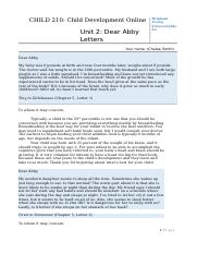 Dear Abby Letters-Unit 2