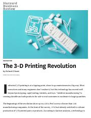 The 3-D Printing Revolution