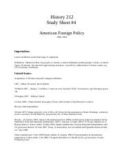 History 212 study sheet #3 foreign policy.docx