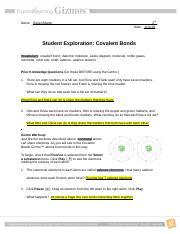 covalent bonds - Name Date Student Exploration Covalent ...