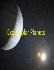 Exo-Solar Planets 2016