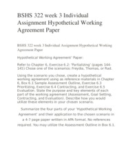 BSHS 322 week 3 Individual Assignment Hypothetical Working Agreement Paper