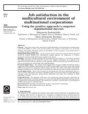 Job satisfaction in the multicultural environment of multinational corporations