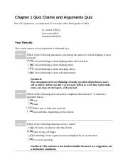 Chapter 1 Quiz Claims and Arguments Quiz
